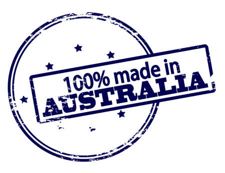 hundred: Rubber stamp with text one hundred percent made in Australia inside, vector illustration Illustration