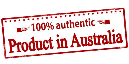 one hundred: Rubber stamp with text one hundred percent authentic product in Australia inside, vector illustration Illustration