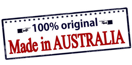 one hundred: Rubber stamp with text one hundred percent original made in Australia inside, vector illustration