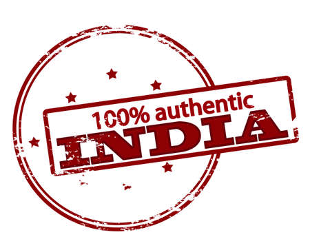 one hundred: Rubber stamp with text one hundred percent authentic India inside, vector illustration Illustration