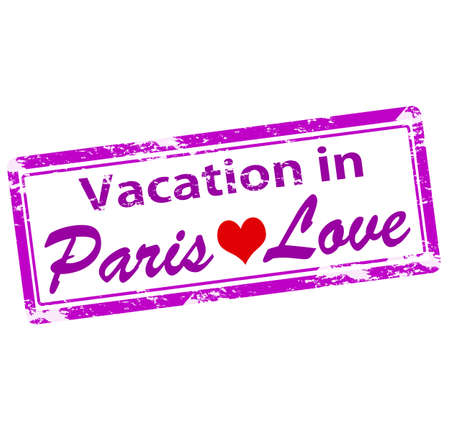 love affair: Rubber stamp with text vacation in Paris inside, vector illustration