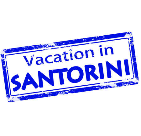 vacancies: Rubber stamp with text vacation in Santorini inside, vector illustration Illustration