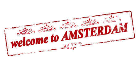 amsterdam: Rubber stamp with text welcome to Amsterdam inside, vector illustration