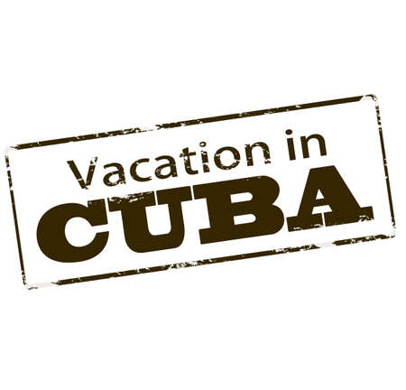 vacancies: Rubber stamp with text vacation in Cuba inside, vector illustration