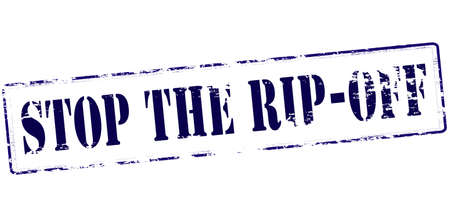 stopping: Rubber stamp with text stop the rip off inside, vector illustration
