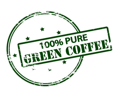 mere: Rubber stamp with text one hundred percent pure green coffee inside, vector illustration Illustration