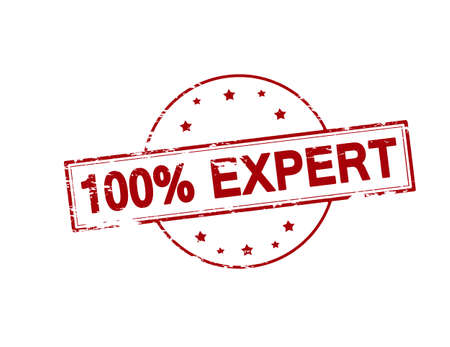 proficient: Rubber stamp with text one hundred percent expert inside, vector illustration Illustration