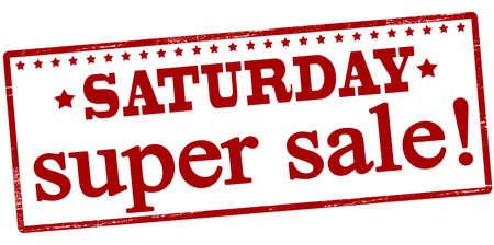 sat: Rubber stamp with text Saturday super sale inside, vector illustration