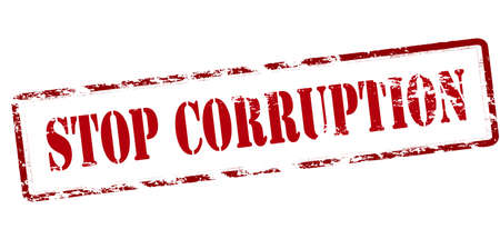 corrupted: Rubber stamp with text stop corruption inside, vector illustration Illustration