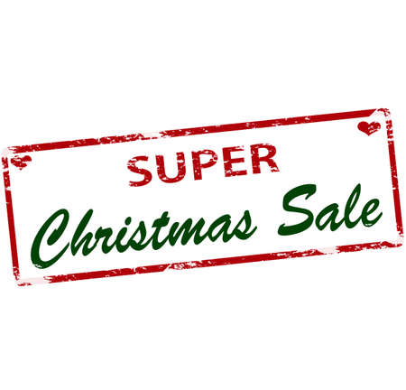 treachery: Rubber stamp with text super Christmas sale inside, vector illustration Illustration
