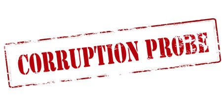 corrupcion: Rubber stamp with text corruption probe inside, vector illustration Vectores