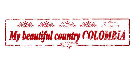 land mine: Rubber stamp with text my beautiful country Colombia inside, vector illustration Illustration