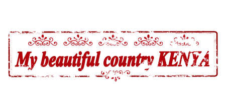 land mine: Rubber stamp with text my beautiful country Kenya inside, vector illustration
