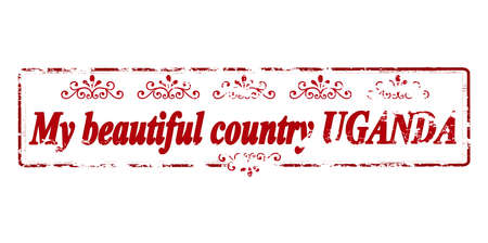 land mine: Rubber stamp with text my beautiful country Uganda inside, vector illustration