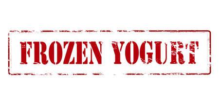 yoghurt: Rubber stamp with text frozen yogurt inside, vector illustration