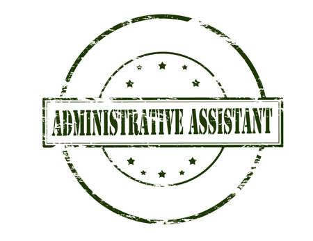 collaborator: Rubber stamp with text administrative assistant inside, vector illustration