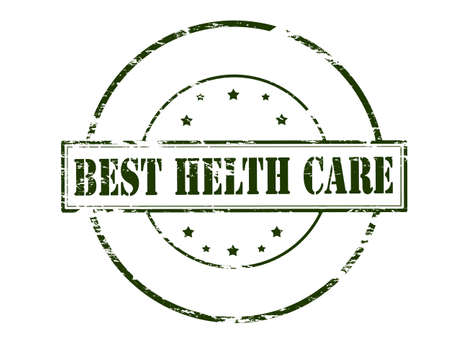 solicitude: Rubber stamp with text best health care inside, vector illustration Illustration