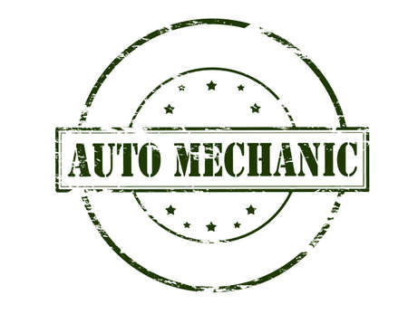 machine operator: Rubber stamp with text auto mechanic inside, vector illustration