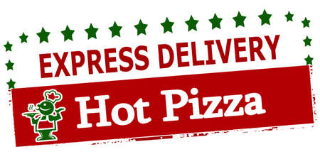 ardent: Rubber stamp with text experss delivery hot pizza inside, vector illustration