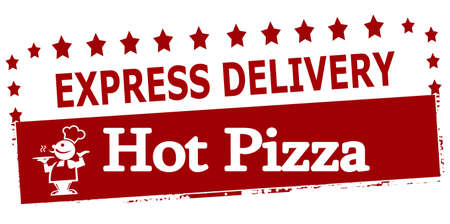 Rubber stamp with text experss delivery hot pizza inside, vector illustration