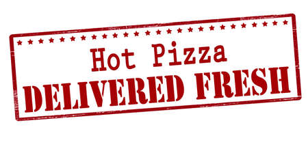 fervent: Rubber stamp with text hot pizza delivered fresh inside, vector illustration