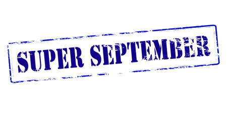 september: Rubber stamp with text super September inside, vector illustration