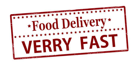 Rubber stamp with text food delivery verry fast inside, vector illustration Illustration