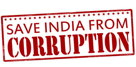 bribery: Rubber stamp with text save India from corruption inside, vector illustration