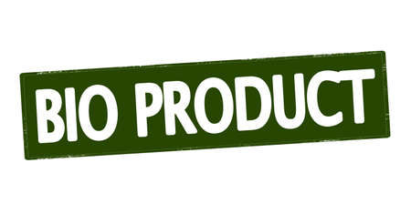 produce product: Rubber stamp with text bio product inside, vector illustration