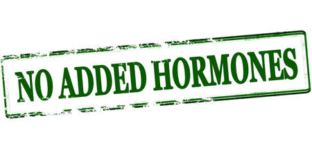 hormones: Rubber stamp with text no added hormones inside, vector illustration Illustration