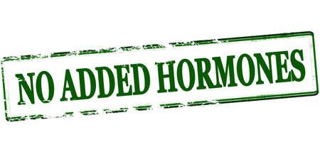 hormonas: sello de goma con el texto de las hormonas no se le agregaron interior, ilustración vectorial Vectores