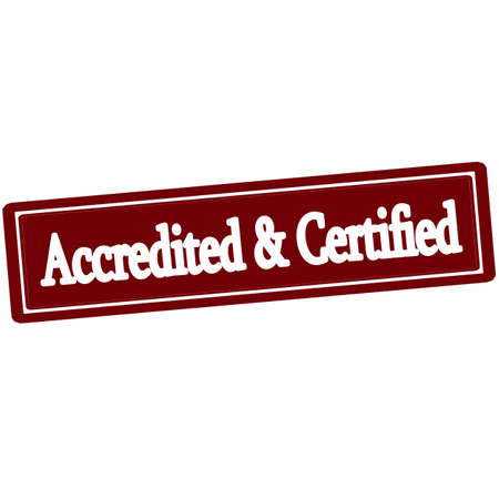 authoritative: Rubber stamp with text accredited and certified inside, vector illustration