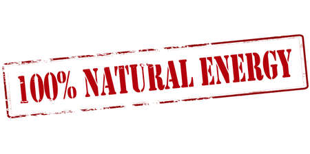 lifelike: Rubber stamp with text one hundred percent natural energy inside, vector illustration