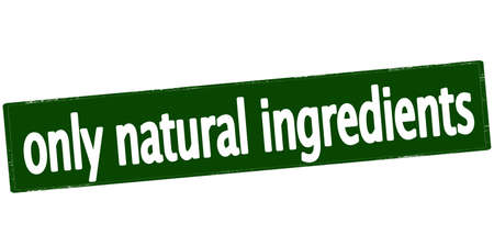 lifelike: Rubber stamp with text only natural ingredients inside, vector illustration