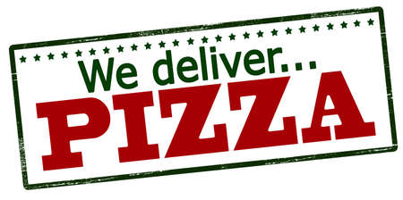 afford: Rubber stamp with text we deliver pizza inside