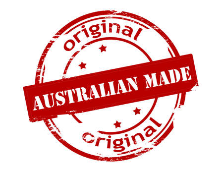 peculiar: Rubber stamp with text Australian made inside, vector illustration Illustration