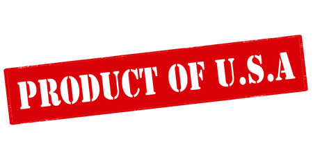 produce product: Rubber stamp with text product of USA inside, vector illustration Illustration