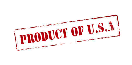 produce product: Rubber stamp with text Product of USA inside, vector illustration