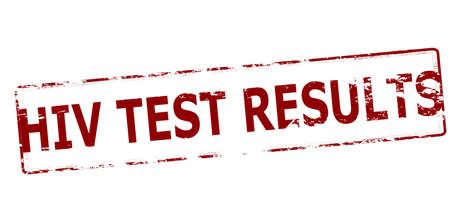 test results: Rubber stamp with text HIV test results inside, vector illustration