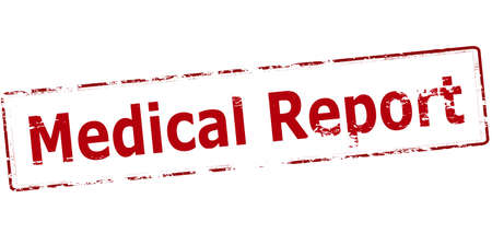 medicated: Rubber stamp with text medical report inside, vector illustration