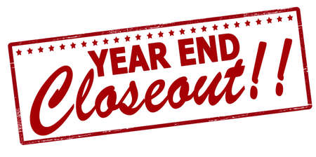 Rubber stamp with text year end closeout inside, vector illustration