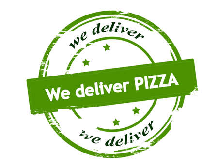 we: Rubber stamp with text we deliver pizza inside, vector illustration
