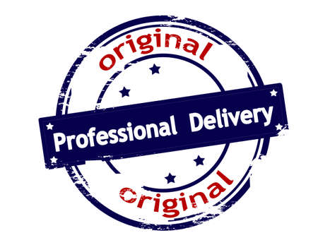 peculiar: Rubber stamp with text professional delivery inside, vector illustration