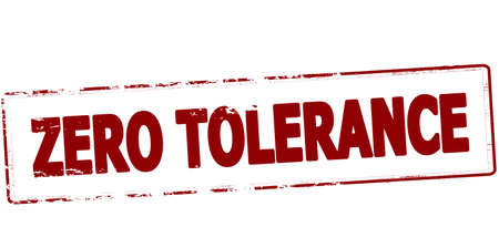 tolerance: Rubber stamp with text zero tolerance inside, vector illustration