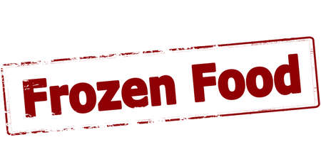 Timbro di gomma con il testo congelato cibo all'interno, illustrazione vettoriale