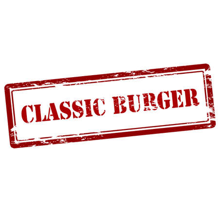 classic burger: Rubber stamp with text classic burger inside, vector illustration Illustration