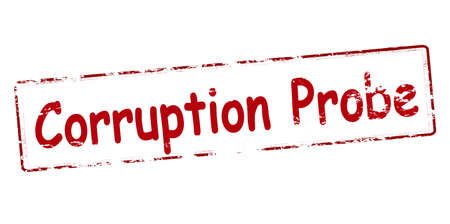 taint: Rubber stamp with text corruption probe inside, vector illustration Illustration