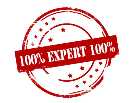 Rubber stamp with text one hundred percent expert inside, vector illustration Ilustração