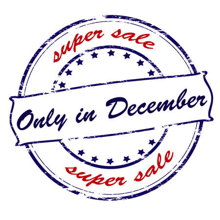 purely: Rubber stamp with text super sale only in December inside, vector illustration