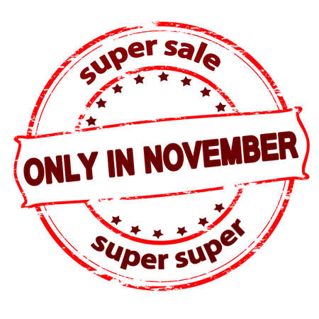 purely: Rubber stamp with text super sale only in November inside, vector illustration